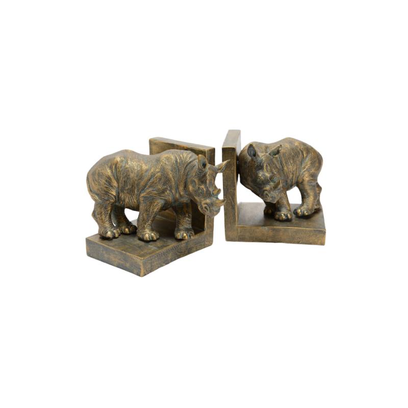 Set 2 Sujetalibros rhinoceronte